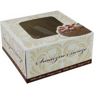 Pudełko cukiernicze 22x22x11 biało/brązowe z okienkiem, cena za op. 50szt
