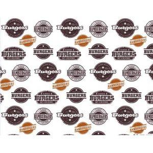 Papier półpergamin, 35x27 cm, biały z nadrukiem: Burgers, Hamburgers, tłuszczoodporny, op. 1000 arkuszy