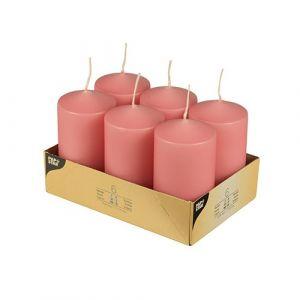 Świece pieńkowe 11,5 cm ciemny różowy średnica 6 cm op. 6 sztuk