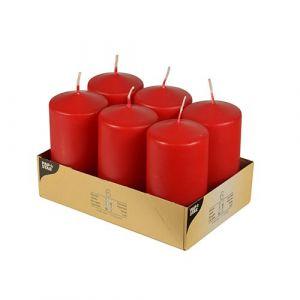 Świece pieńkowe 11,5 cm czerwone średnica 6 cm op. 6 sztuk