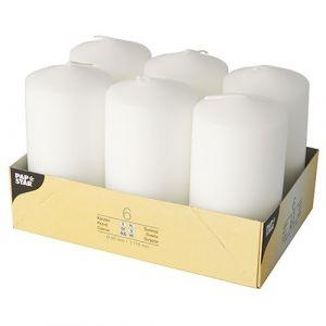 Świece pieńkowe 11,5cm białe średnica 6 cm op. 6 sztuk