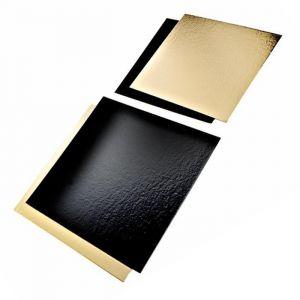 Podkładki pod tort złoto-czarne 20x30cm prostokąt op.50szt