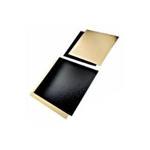 Podkładki pod tort złoto-czarne 30x40cm prostokąt op.25szt