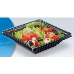 Pojemnik sałatkowy PET kwadratowy 600ml komplet czarny spód + transparentna pokrywka 170x170xh.83 op. 40 sztuk