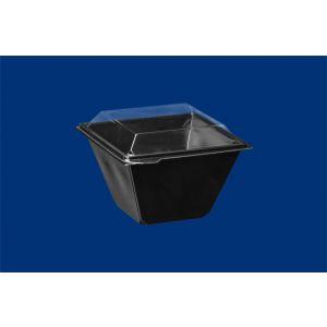 Pucharek sałatkowy kwadratowy 750ml komplet czarny spód + transparentna pokrywka 132x132mm h100 PET op. 30 kpl
