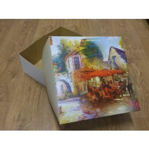 Pokrywka do pudełka na torty 32x32x14cm nadruk PROWANSJA, cena za op.50 szt