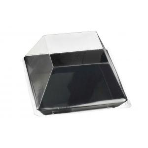 Quartz - talerzyk kwadratowy PS czarny op. 200szt., 130x130x17mm, wielokrotnego użytku (k/1)
