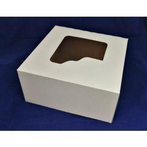 Pudełko cukiernicze 28x28x13 biało/brązowe bez nadruku z okienkiem, cena za op. 50szt