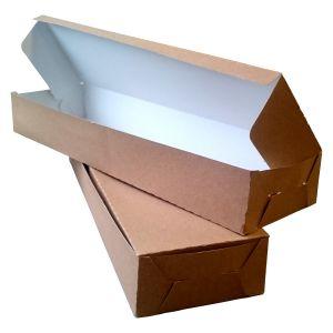 Pudełko ZAPIEKANKA brązowe, bez nadruku rozmiar: 380x110x50, cena za opakowanie 100szt