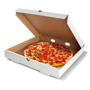 Pizza boxes 30x30cm op.100pcs pr.corners h=4cm, white-grey Wave E TnP