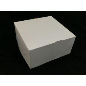 Pudełko cukiernicze 22x22x11cm biało/brązowe, bez okna, bez nadruku op. 50 sztuk