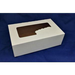 Pudełko cukiernicze 25x15x8 biało/brąz BEZ NADRUKU Z OKIENKIEM op. 50 sztuk