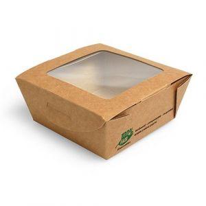 Pudełko brązowe sałatkowe 350ml 90x90x45mm PURE biodegradowalne op. 40 sztuk