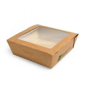 Pudełko brązowe sałatkowe 650ml 120x120x45mm PURE biodegradowalne op. 40 sztuk