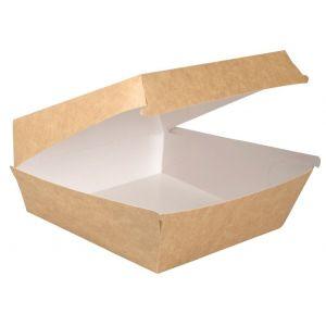 Pudełko Hamburger, Burger BRĄZOWY MEGA+ biało/brązowe 190x190x8,2mm bez nadruku op. 300 sztuk