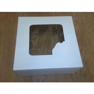 Pudełko cukiernicze 22x22x11 biało/brązowe bez nadruku z okienkiem, cena za op. 50szt