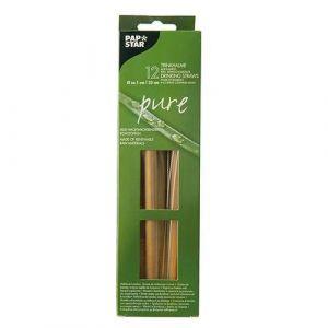PURE Słomki bambusowe śr.10mmxdł.23cm + szczoteczka do czyszczenia op. 12 sztuk
