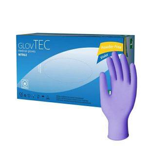 Rękawiczki nitryle fioletowe GlovTEC-S Violet bezpudrowe op. 100 sztuk