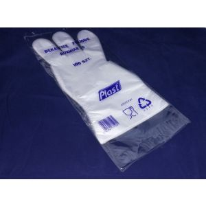 Rękawice z folii HDPE, rozmiar S, transparentne, 100 sztuk, bez zawieszki
