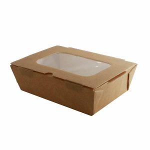 Pudełko brązowe sałatkowe 1500ml 185x125x60mm op.110szt z okienkiem