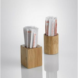 Pojemnik na wykałaczki QUBE, kwadratowy bambus, 3.5x3.5x(h) 4.5cm,  6szt. (12)