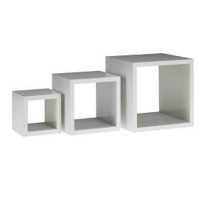 Stand bufetowy CUBO bambus biały zestaw 3 sztuki 13x13x13; 18x18x18; 23x23x23
