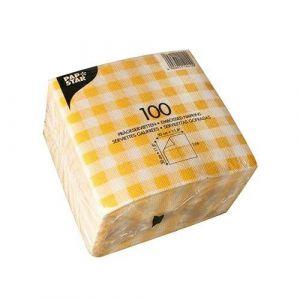Serwetki 30x30 żółta krata 1W op. 100 sztuk