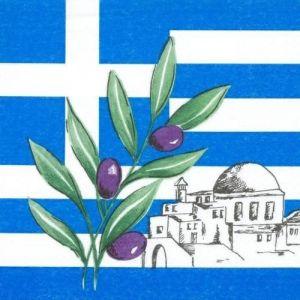 """Serwetki 33x33 3W Flaga Grecji 1/4 opakowanie """"Greece"""" op. 50 sztuk"""