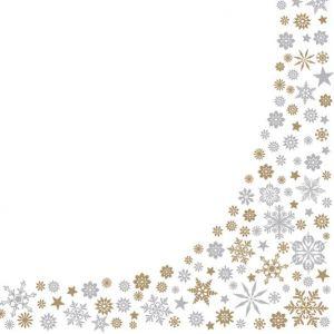 Serwetki 33x33 MAKI GWIAZDKA 0137 01 Gold & Silver Snowflakes Border op. 20 sztuk