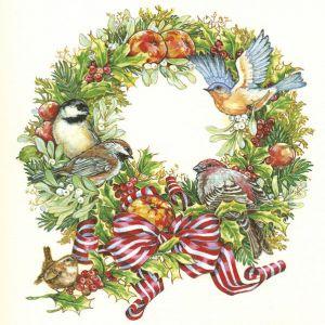 Serwetki 33x33 MAKI GWIAZDKA 0213 01 Christmas Wreath with Birds op. 20 sztuk
