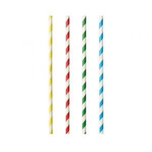 """Słomki papierowe 8mm dł.21cm """"Stripes mix"""" Shake kolorowe pasy op. 100 sztuk"""