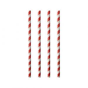 Paper straws diameter 8mm length 19,7cm red stripes op.100pcs. (k/50) 45669