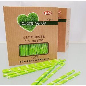 Słomki papierowe zielone śr.6mm dł.210mm, biodegradowalne op. 250 sztuk