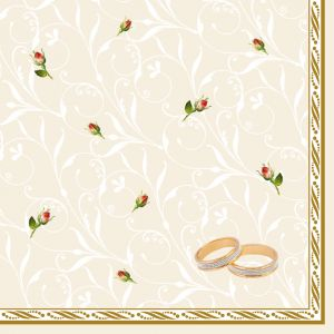 Serwetki 33x33 MAKI ŚLUB 0001 01 Wedding Rings Ecru op.20szt (12)