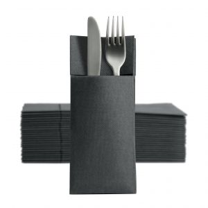 Cutlery pouch with napkin PUNTA black 38x32cm, 50 pieces