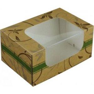 Pudełko cukiernicze 16,5x11x8cm karton: biało/brąz. nadruk cukierniczy z okienkiem, cena za op.50szt