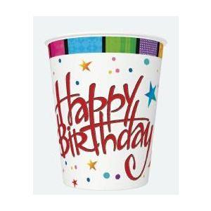 Kubki MAKI 250ml Ogólne 029901 Happy birthday with strioes op. 8 sztuk