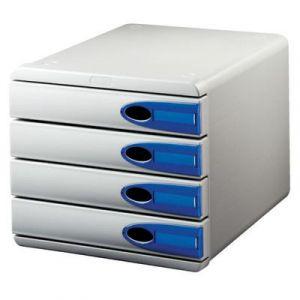 Pojemnik z szufladami Leitz Allura, 4 szuflady, przeźroczysto-niebieski, obudowa szara