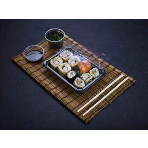 """Sushi set """"2"""" z pokrywką 18,2x13,8x4cm VEGWARE 100% biodegradowalne op. 100 kpl."""