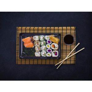"""Sushi set """"4"""" z pokrywką 21,2x13,8x4cm VEGWARE 100% biodegradowalne op. 100 kpl."""