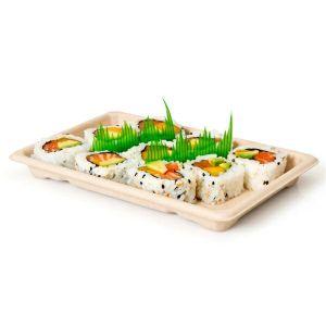 Sushi Box 2 tacka z trzciny 16,5x11x1,5c op.50szt., naturalny, biodegradowalny (k/20)