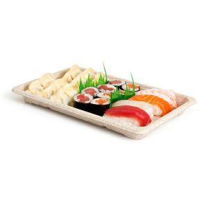Sushi Box 4 tacka z trzciny 21,3x13x1,5 op.50szt., naturalny, biodegradowalny (k/16)
