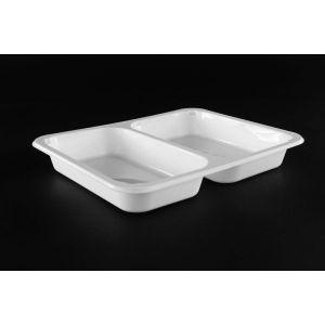 Pojemnik obiadowy, cateringowy do zgrzewu 227x178x3 biały, dwudzielny, gładki TnP op. 50 sztuk
