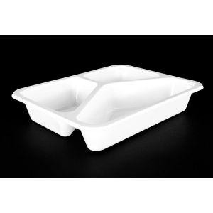 Pojemnik obiadowy, cateringowy do zgrzewu 227x178x4 biały, trójdzielny, gładki TnP op. 50 sztuk