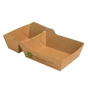 Tacka brązowa na frytki 7x9x3,5cm dwudzielna PURE biodegradowalna op. 80 sztuk