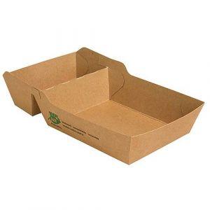 Tacka brązowa na frytki 8,5x15,5x3,5cm dwudzielna PURE biodegradowalna op. 80 sztuk