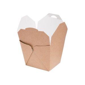 TAKEOUT BOX 8x6,5x8,5cm 450ml EKO karton biało-brązowy klejony TnG op. 50 sztuk