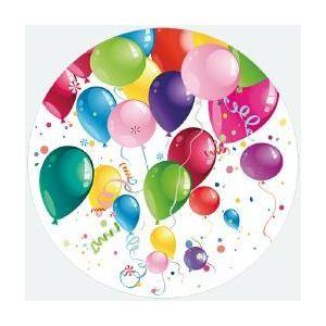 Talerz papierowy OGÓLNY śr.180mm BALONY wzór nr 028601 Party Balloons op. 8 sztuk