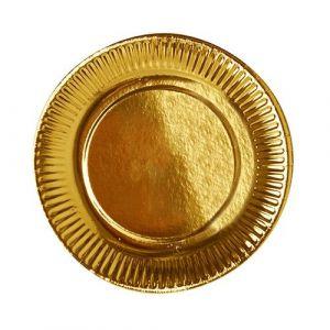 Talerz okrągły papierowy 19cm złoty op. 6 sztuk