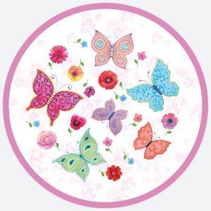 Talerz papierowy OGÓLNY fi 180 mm MOTYLE wzór nr 023601 Butterflies op. 8 sztuk
